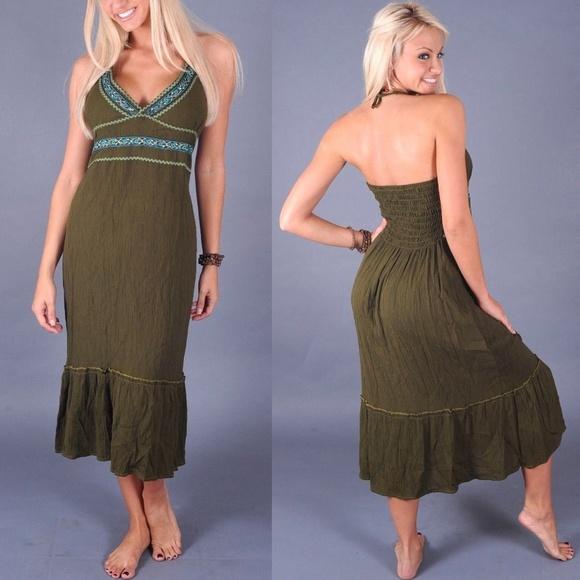 f9221b6d76a2 4  20 New Womens Halter Midi Dress Green Medium